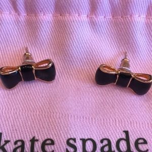 kate spade Jewelry - Kate Spade Black and Gold Bow tie stud earings